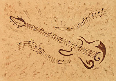 Stand By Me Guitar Notes Original Coffee Painting Art Print