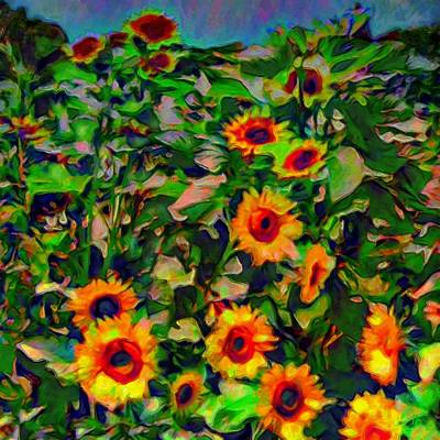 Painting - Stand Of Sunflowers - Square by Lyn Voytershark