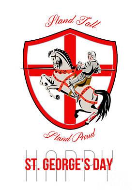 Stand Tall Happy St George Day Retro Poster Print by Aloysius Patrimonio