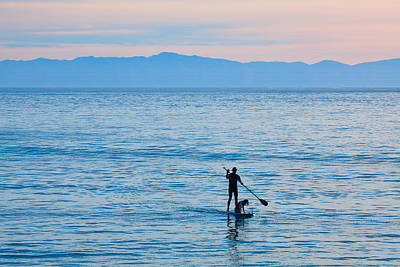Digital Art - Stand Up Paddle Surfing In Santa Barbara Bay California by Ram Vasudev