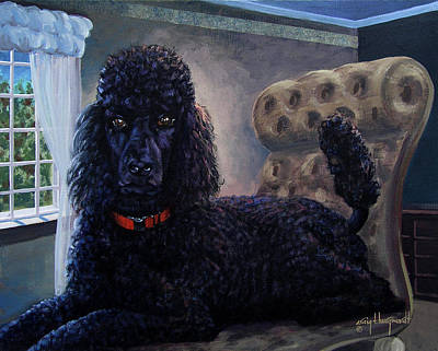 Painting - Standard Poodle Portrait by Craig Burgwardt