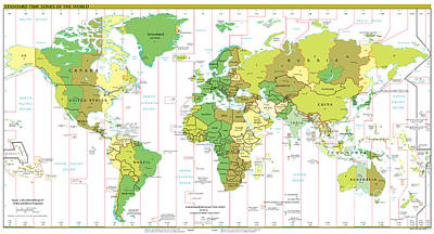 Standard Time Zones Of The World Art Print by Pg Reproductions