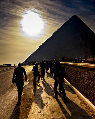 Standing Before The Great Pyramid In Egypt Art Print by Mark E Tisdale