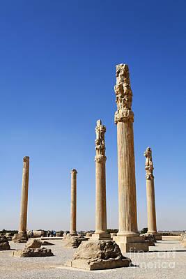 Ancient Persia Photograph - Standing Columns At Persepolis In Iran by Robert Preston