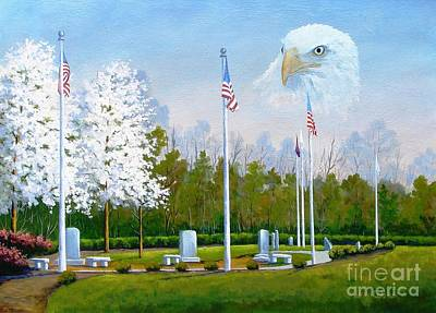 Painting - Standing Guard Over Veterans Park by Jerry Walker
