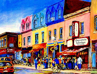 Painting - Standing In Line As Biker And Shoppers Pass By Schwartz Deli Montreal Painting Street Scene Cspandau by Carole Spandau