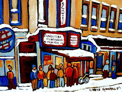 Painting - Standing In Line At The Charcuterie Schwartz Main Street Montreal Art Winter Scene Painting Cspandau by Carole Spandau