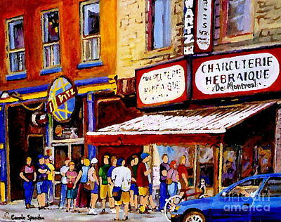 Painting - Standing In Line At The Charcuterie Schwartzs Main Street Montreal Art City Scene Paintings Cspandau by Carole Spandau