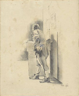 Loon Drawing - Standing Man, Leaning, Pieter Van Loon by Quint Lox