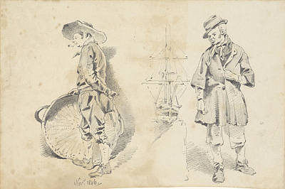 Loon Drawing - Standing Men And One Ship Model, Pieter Van Loon by Quint Lox