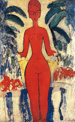 Expressionist Art Painting - Standing Nude by Amedeo Modigliani
