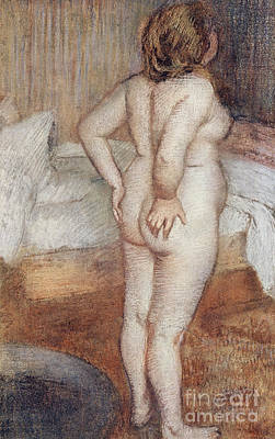 Bed Pastel - Standing Nude by Edgar Degas