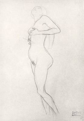 Feminine Drawing - Standing Nude Girl Looking Up by Gustav Klimt