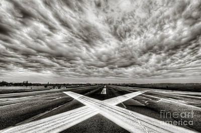 Balck And White Photograph - Standing On The Runway Waiting For Take-off by Colin Woods