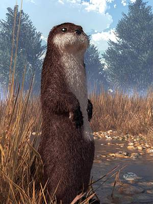 Otter Digital Art - Standing Otter by Daniel Eskridge