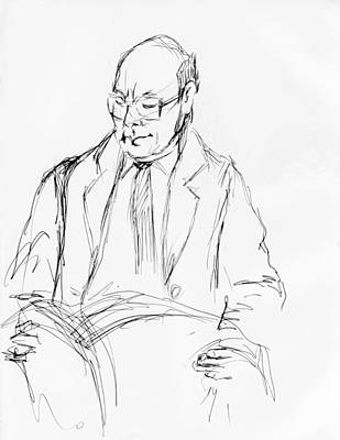 Judaica Drawing - Standing Reading Commuter by Phil Welsher