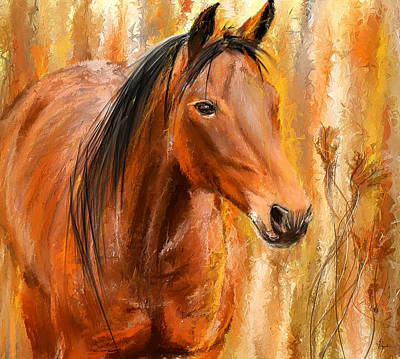 Horse In Autumn Painting - Standing Regally- Bay Horse Paintings by Lourry Legarde