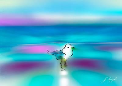 Framed Digital Art Mixed Media - Standing Seagull by Frank Bright
