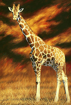 Giraffe Painting - Standing Tall by Lucie Bilodeau