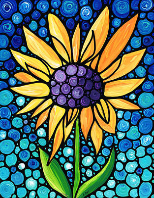 Purple Sky Painting - Standing Tall - Sunflower Art By Sharon Cummings by Sharon Cummings