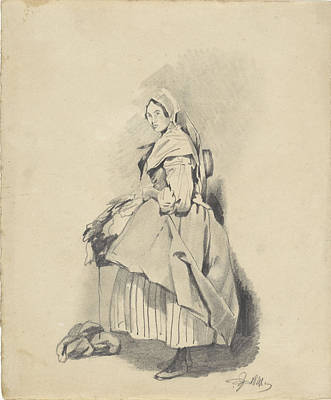 Loon Drawing - Standing Woman, Pieter Van Loon by Quint Lox