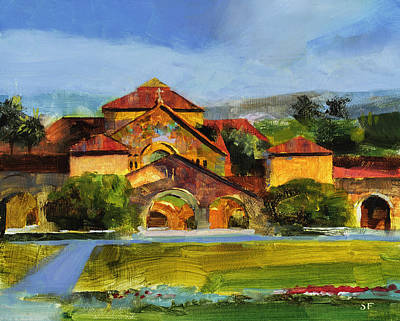 Stanford Painting - Stanford Chapel by Stan Fellows