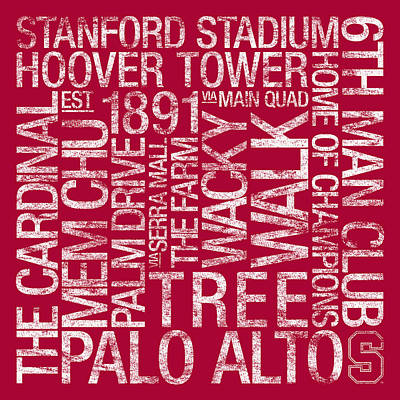 College Campus Photograph - Stanford College Colors Subway Art by Replay Photos