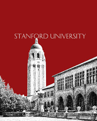 Dorm Digital Art - Stanford University - Dark Red by DB Artist