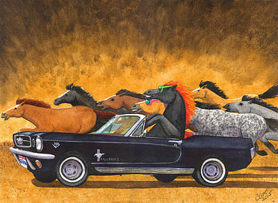 1965 Mustang Painting - Stang by Catherine G McElroy