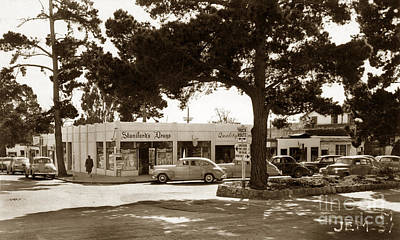 Photograph - Stanifords Drug Store Ocean Ave.cor San Carlos Carmel Circa 1941 by California Views Archives Mr Pat Hathaway Archives