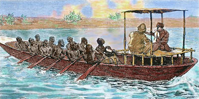 Stanley And Livingstone In A Canoe Art Print by Prisma Archivo