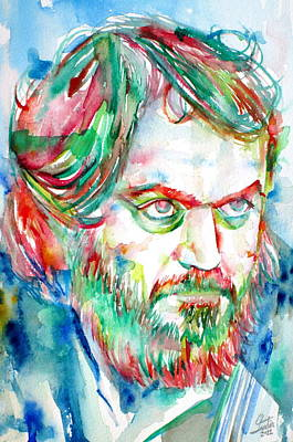 2001 Painting - Stanley Kubrick Watercolor Portrait by Fabrizio Cassetta