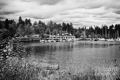 stanley park coal harbour and Vancouver rowing club marina BC Canada Art Print by Joe Fox