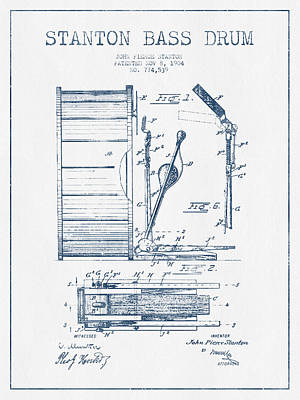 Bass Drum Digital Art - Stanton Bass Drum Patent Drawing From 1904 - Blue Ink by Aged Pixel