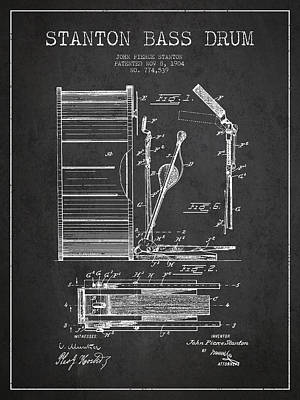 Stanton Bass Drum Patent Drawing From 1904 - Dark Art Print by Aged Pixel