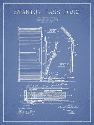 Bass Drum Digital Art - Stanton Bass Drum Patent Drawing From 1904 - Light Blue by Aged Pixel