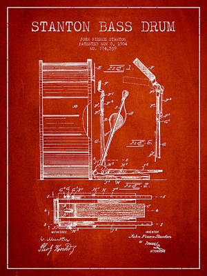 Bass Drum Digital Art - Stanton Bass Drum Patent Drawing From 1904 - Red by Aged Pixel