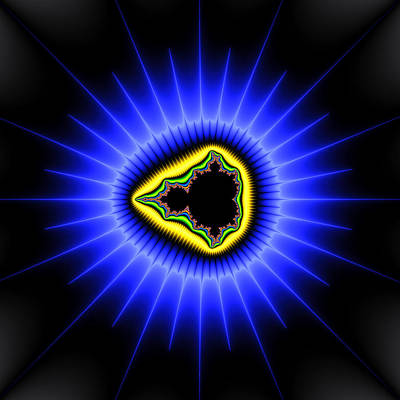 Digital Art - Star And Mandelbrot Set - Blue And Yellow Fractal Art by Matthias Hauser