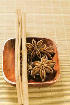 Star Anise And Cinnamon Sticks In Wooden Bowl Art Print