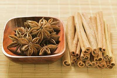 Star Anise In Wooden Bowl, Cinnamon Sticks Beside It Art Print