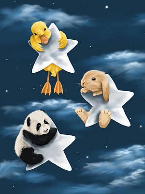 Panda Illustration Painting - Star Games by Veronica Minozzi