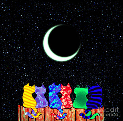 Kittens Drawing - Star Gazers by Nick Gustafson