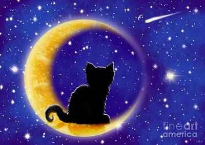 Kitten Digital Art - Star Gazing Cat by Nick Gustafson