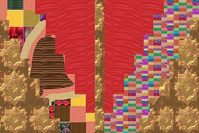 Mixed Media - Star Golden Random Abstract Collage Patchwork Navinjoshi Artist Created Red Sparkle Silken Base   Ar by Navin Joshi