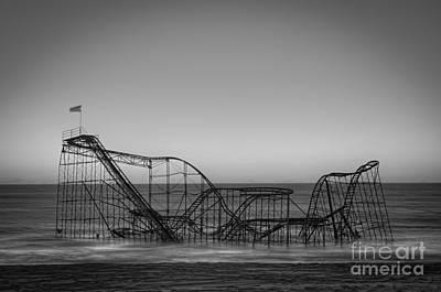 Star Jet Roller Coaster Bw Art Print by Michael Ver Sprill