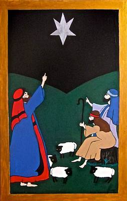 Painting - Star Of Bethlehem And The Shepherds by Stephanie Moore