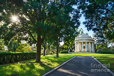 Greek Temple Photograph - Star Over The Mausoleum - Henry And Arabella Huntington Overlooks The Gardens. by Jamie Pham