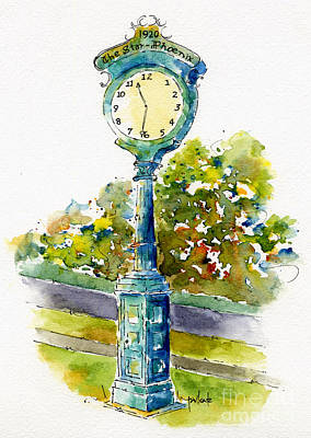 Streetscape Painting - Star Phoenix Clock Tower by Pat Katz