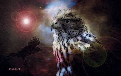 Raven Digital Art - Star Raven Hawk by The Feathered Lady