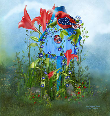 Spring Scenes Mixed Media - Star Spangled Birdie by Carol Cavalaris